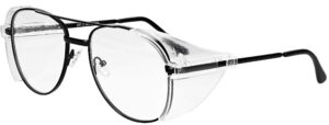 Model RX-100 Metal Safety Glasses in Black. Available in 2 sizes RX-100-BK