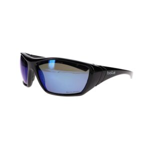 Bolle Hustler Black Safety Glasses with Blue Flash Polarized Lens BO-HUSTLER-40151